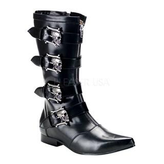 Demonia Brogue-107 Men's Winkle-picker Mid-calf Boots with Bronze Skull Buckles