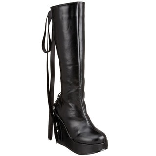 Demonia Women's 'Bravo-106' Black Corset-back Wedge Boots