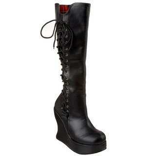 Demonia Women's 'Bravo-100' Black Corset-back Wedge Boots