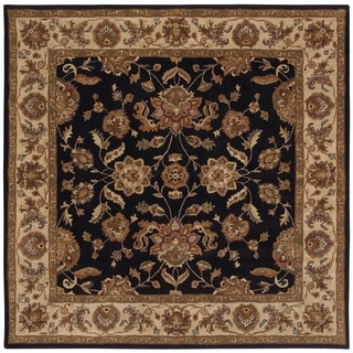 LNR Home Black/ Ivory Border Square Area Rug (9' x 9')