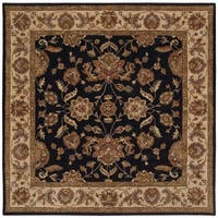 LNR Home Black/ Ivory Border Square Area Rug - 9' x 9'