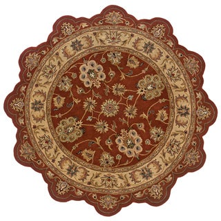Hand-tufted Border Star Rust/ Gold Wool Rug (7'9 Round)