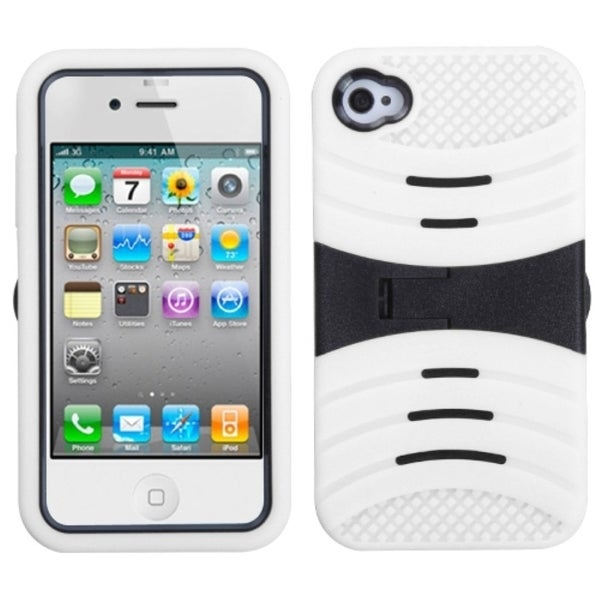 INSTEN Black/ White Wave Symbiosis Stand Phone Case Cover for Apple iPhone 4/ 4S