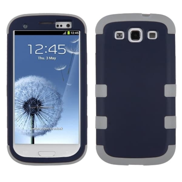 INSTEN Rubberized Sapphire Blue/ Grey TUFF Phone Case Cover for Samsung Galaxy S3