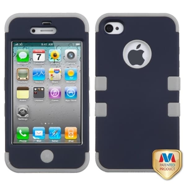 INSTEN Rubberized Sapphire Blue/ Grey TUFF Phone Case Cover for Apple iPhone 4/ 4S