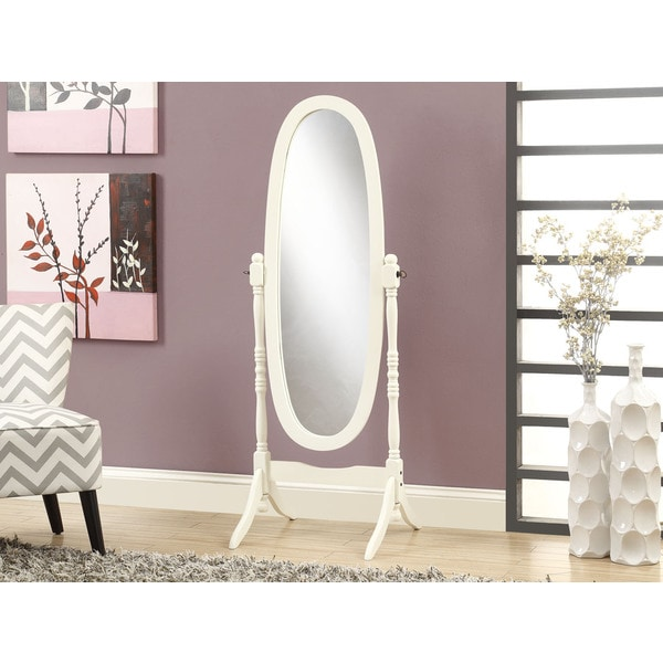 Cheval Antique White Solid Wood Oval Mirror Free