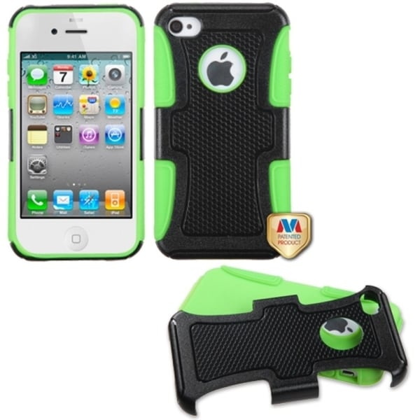 INSTEN Black/ Electric Green Frosted Phone Case Cover for Apple iPhone 4/ 4S