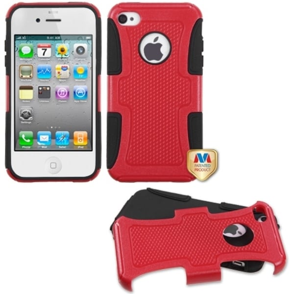 INSTEN Natural Red/ Black Frosted Fusion Phone Case Cover for Apple iPhone 4/ 4S
