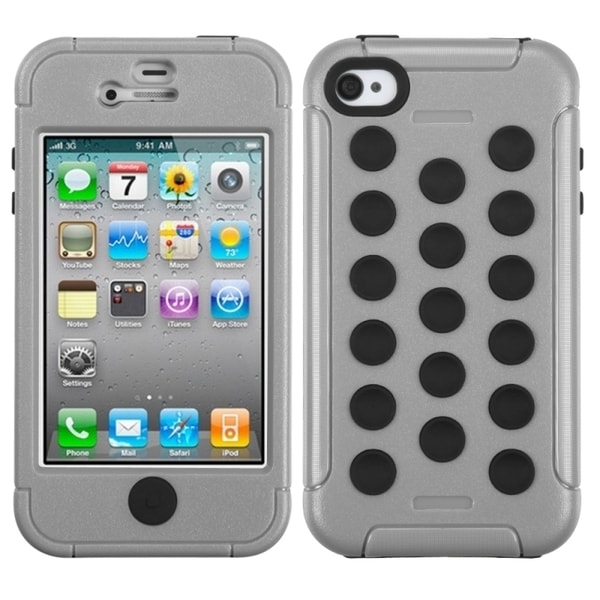INSTEN Natural Grey/ Black TUFF Hybrid Phone Case Cover for Apple iPhone 4/ 4S