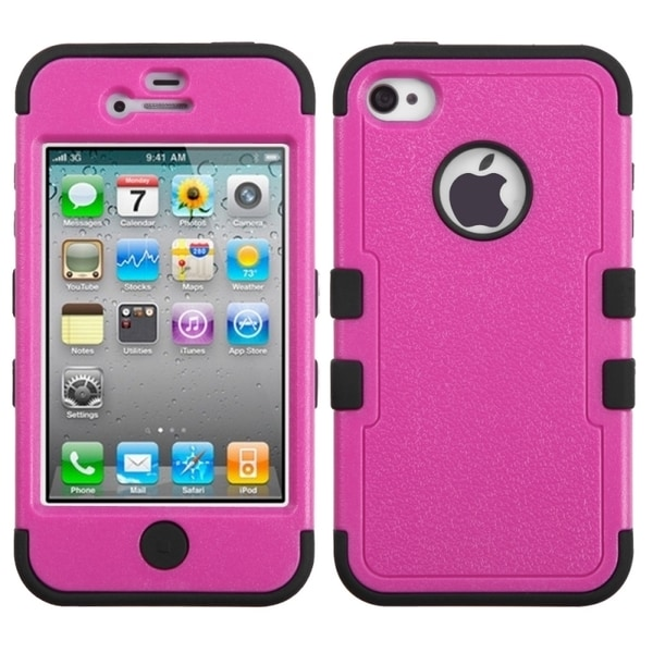 INSTEN Hot Pink/ Black TUFF Hybrid Phone Case Cover for Apple iPhone 4/ 4S