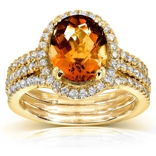 Annello by Kobelli 10k Yellow Gold Orange Citrine and 4/5ct TDW Diamond Ring (H-I, I1-I2)