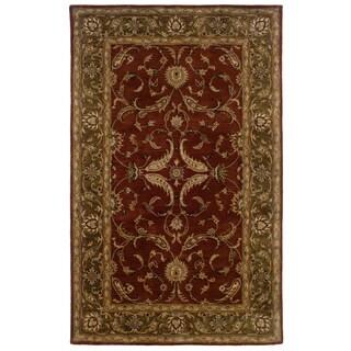 Hand-tufted Oriental Rust/ Medium Green Wool Rug (9' x 12'9)