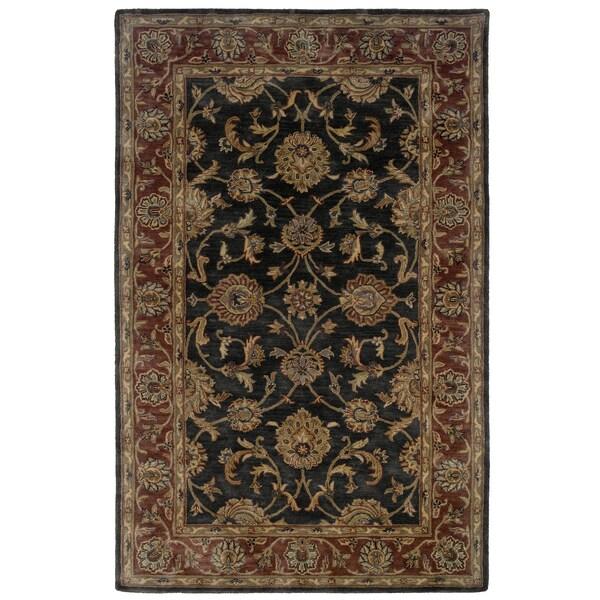 LR Home Hand-tufted Oriental Charcoal/ Rust Wool Rug (9' x 12'9) - 9' x 12'9