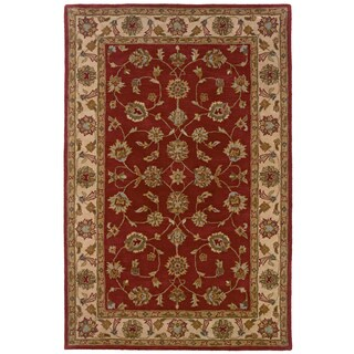 Hand-tufted Oriental Red/ Ivory Wool Rug (9' x 12'9)