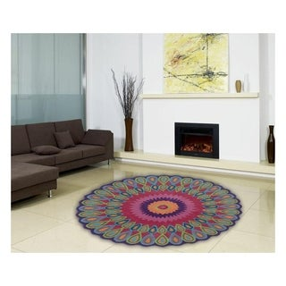 LNR Home Vibrance Multi-colored Floral Wool Rug (5' Round) - 5' x 5'