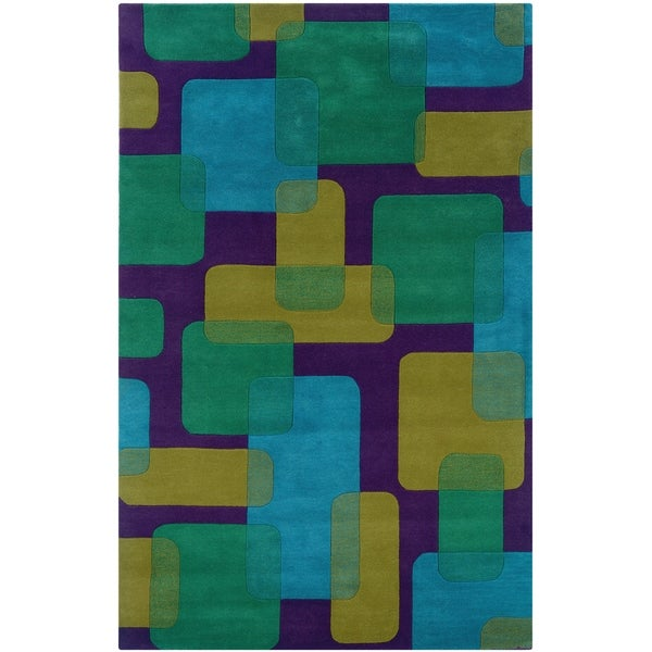 LR Home Vibrance Purple Geometric Wool Rug (8' x 10')