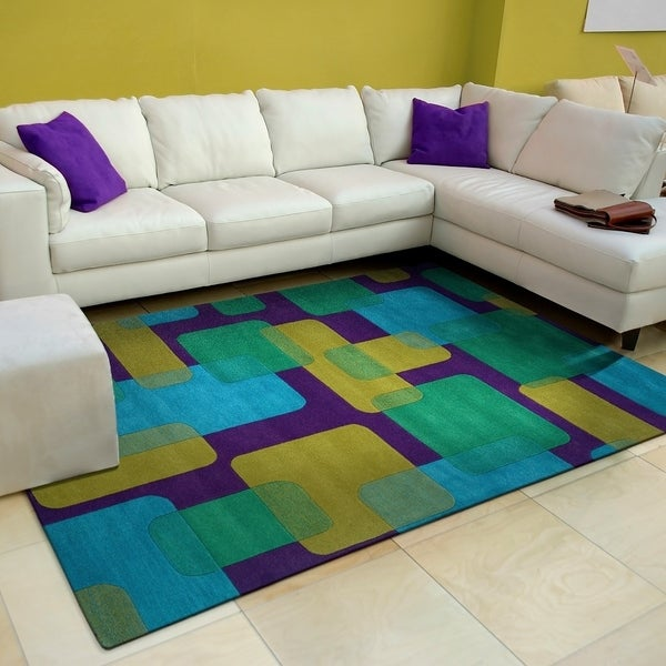 LR Home Vibrance Purple Geometric Wool Rug - 8' x 10'