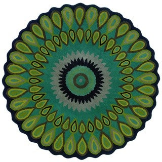 LNR Home Vibrance Miami Green Floral Wool Rug (7'9 Round)
