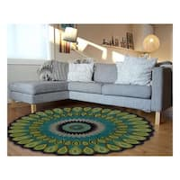 LR Home Hand Tufted Vibrance Miami Green Wool Area Rug - 7'9 x 7'9