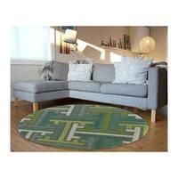 LR Home Vibrance Miami Brown Geometric Wool Rug (7'9 Round) - 7'9 x 7'9