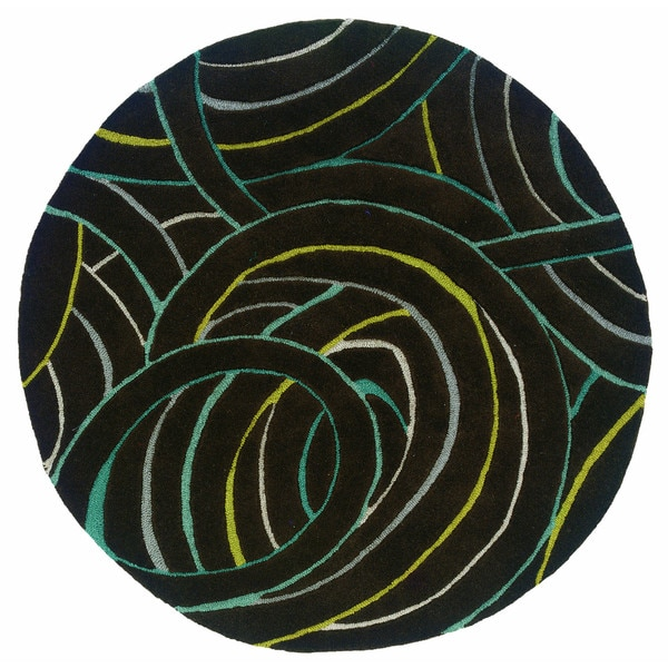 Artistically Hand-tufted Miami Geometric Charcoal Wool Rug (5' Round) - 5' Round/Surplus