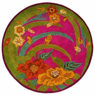 LNR Home Vibrance Pink Floral Wool Rug (5' Round)
