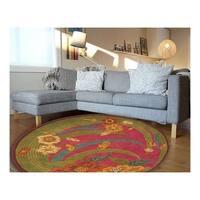 LR Home Vibrance Pink Floral Wool Rug - 7'9 x 7'9