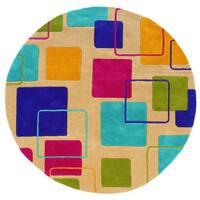 LR Home Vibrance Hand-tufted Geometric Multi Wool Rug - 5' x 5'