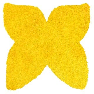 LNR Home Senses Yellow Butterfly Shaped Shag Rug (5' x 5')
