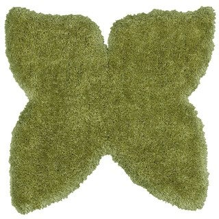 LNR Home Senses Green Butterfly Shaped Shag Rug (5' x 5')