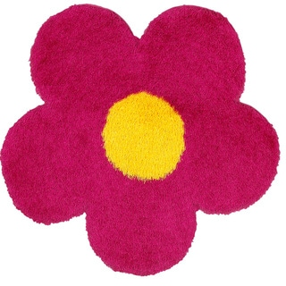 Shop lr home senses pink yellow flower shape shag rug 4 x 4 shop lr home senses pink yellow flower shape shag rug 4 x 4 free shipping today overstock 8328188 mightylinksfo