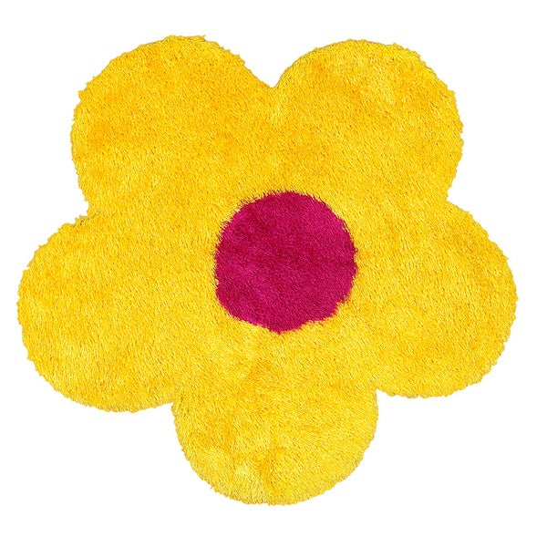 Shop lr home senses yellow pink flower shaped shag rug 4 x 4 lr home senses yellow pink flower shaped shag rug mightylinksfo