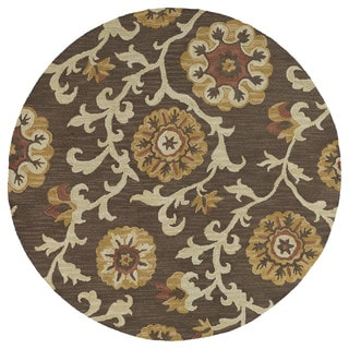 Zoe Brown Suzani Hand-tufted Wool Rug (7'9 Round)