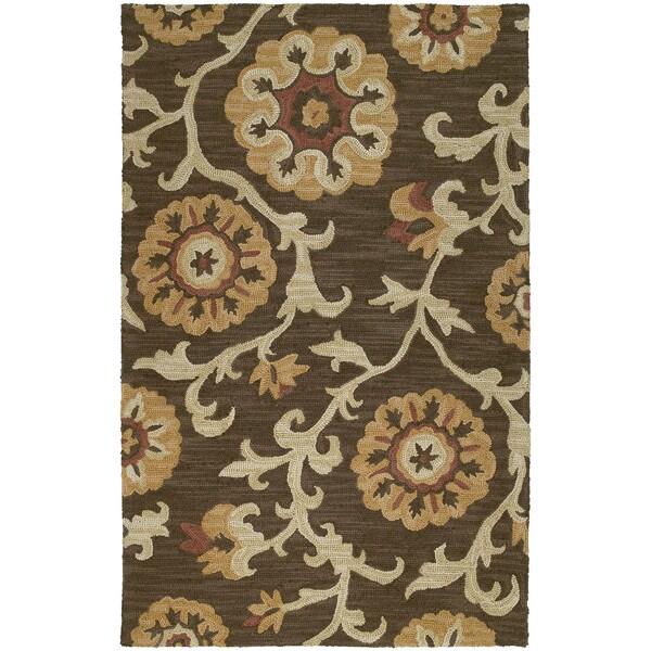 Zoe Brown Suzani Hand-tufted Wool Rug (9' x 12')