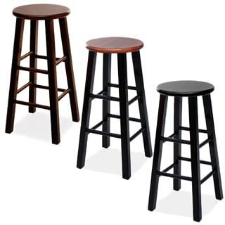 Round Wood Bar Stools (Set of 2)