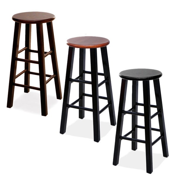 Round Wood Bar Stools Set Of 2