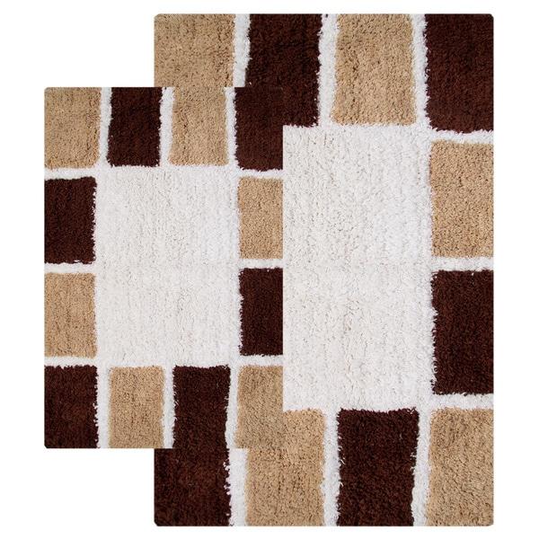 Mosaic Tiles Cotton 2-piece Bath Rug Set - includes BONUS step out mat