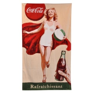 Shop Coca Cola Retro Girl Beach Towel Free Shipping On