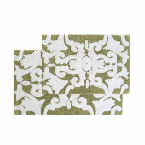 "Chesapeake Iron Gate 2pc. Green & White Bath Rug Set (20""x32""&23""x39"")"