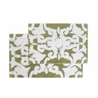 "Chesapeake Iron Gate 2pc. Green & White Bath Rug Set (20""x32""&23""x39"") - 20""x32""/23""x39"""