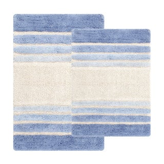 Tuxedo Stripe Cotton 2-piece Bath Rug Set - Includes BONUS Step Out Mat