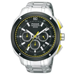 Pulsar Men's PT3393 Chronograph Black Dial Yellow Accent Watch|https://ak1.ostkcdn.com/images/products/8330278/8330278/Pulsar-Mens-Chronograph-Black-Dial-Yellow-Accent-Watch-PT3393-P15642900.jpg?impolicy=medium