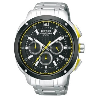 Pulsar Men's PT3393 Chronograph Black Dial Yellow Accent Watch