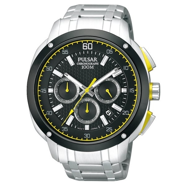 56ee7b16e Shop Pulsar Men's PT3393 Chronograph Black Dial Yellow Accent Watch - Free  Shipping Today - Overstock - 8330278
