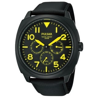 Pulsar Men's Quartz Black Dial Yellow Accent Watch - PP6077