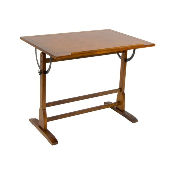 Studio Designs 42 Inch Classic Vintage Oak Wood Drafting Table   Free  Shipping Today   Overstock.com   15642929