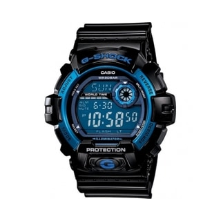Casio Men's 'G-Shock' Black/ Blue Multi-function Watch