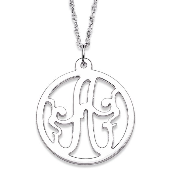 Sterling Silver Initial Monogram Circle Necklace