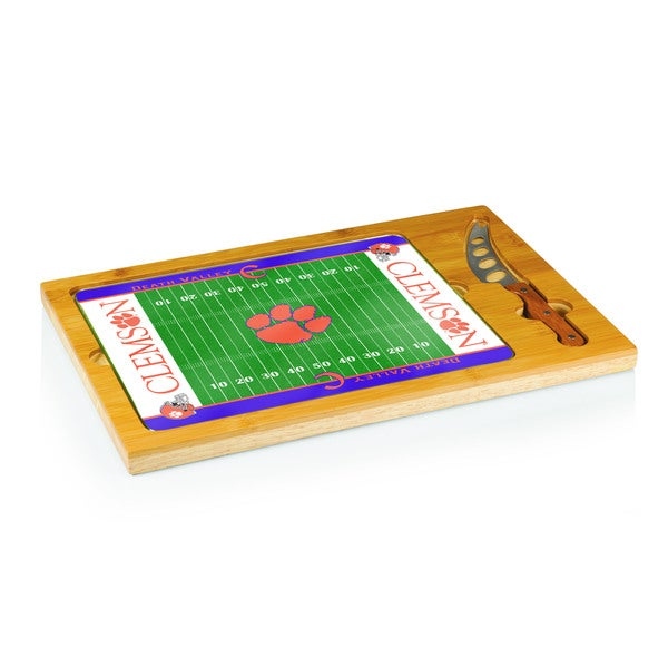 Football Icon Clemson University Tigers Cheese Tray - Brown