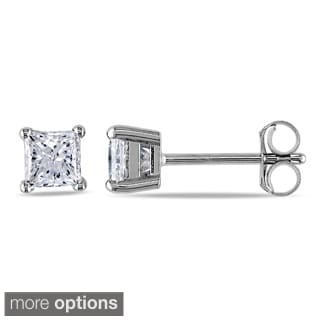 Miadora Signature Collection 14k Gold 3/4ct TDW Princess-cut Diamond Stud Earrings